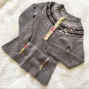 Free People Fair Isle Nordic Embellished Sweater